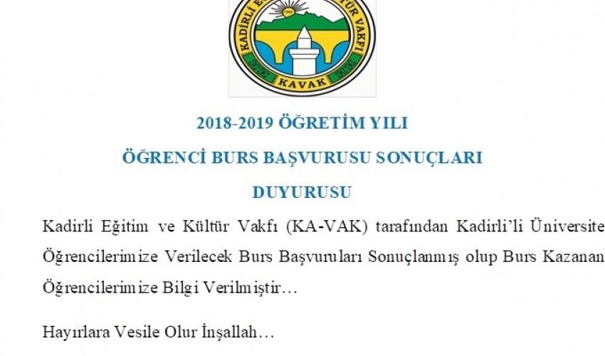 KADİRLİ EĞİTİM VE KÜLTÜR VAKFI (KA-VAK)2018-2019 ÖĞRETİM YILI ÖĞRENCİ BURS BAŞVURUSU..