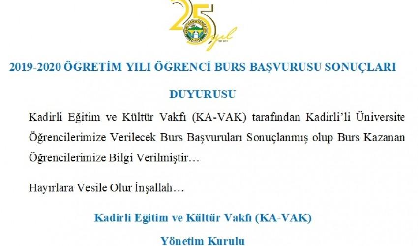 KADİRLİ EĞİTİM VE KÜLTÜR VAKFI (KA-VAK) 2019-2020 ÖĞRETİM YILI ÖĞRENCİ BURS BAŞVURUSU..